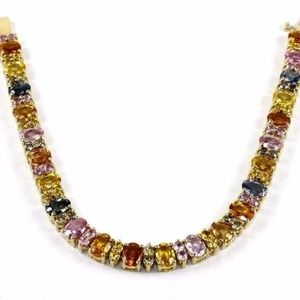 Jewelry - Sapphire & Diamond Tennis Bracelet 14K YG 17.49Ct